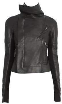Rick Owens Sisy Leather& Wool Biker Jacket