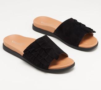 Vionic Suede Ruffle Slide Sandals - Roni