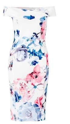 Quiz Cream Blue And Pink Floral Print Bardot Bodycon Dress