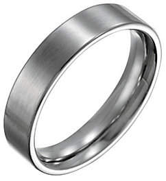 Forza Men's 5mm Steel Flat Brushed Ring