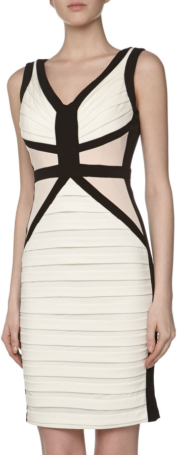 Jax Colorblock Jersey Cocktail Dress, Ivory-Black