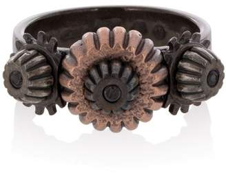 Bottega Veneta Oxidised Silver Cog Ring