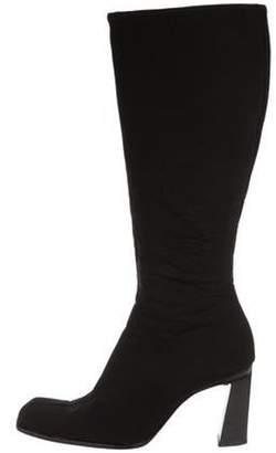 Prada Satin Knee-High Boots Black Satin Knee-High Boots