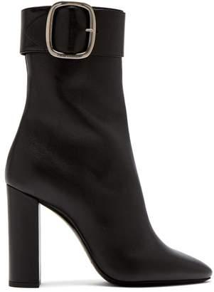 Saint Laurent Joplin Leather Buckle Ankle Boots - Womens - Black