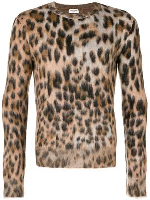 Saint Laurent textured leopard print sweater