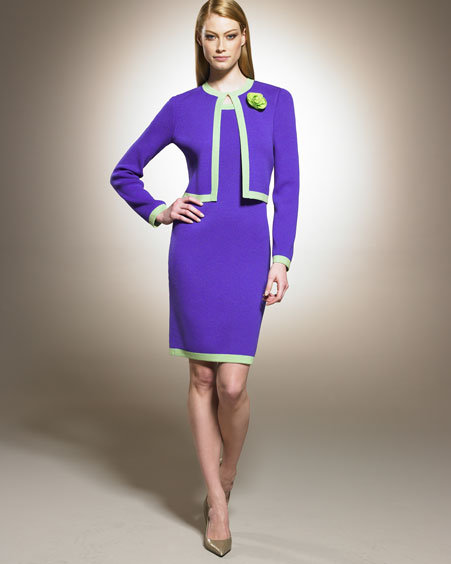 St. John Collection Contrast-Trim Dress