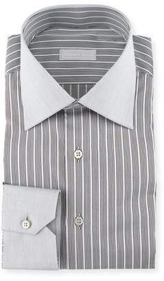 Stefano Ricci Contrast Collar/Cuff Striped Dress Shirt, Gray $700 thestylecure.com