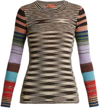 Missoni Contrast-sleeve geometric-pattern sweater