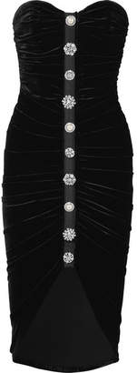 Veronica Beard Palo Embellished Ruched Stretch-velvet Dress - Black