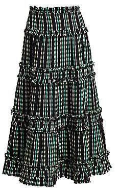 Proenza Schouler Women's Open Weave Tiered Midi Skirt - Size 0