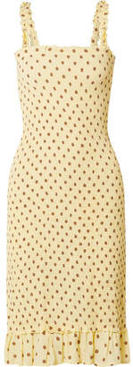 Faithfull The Brand Nadine Ruffled Smocked Polka-dot Crepe Midi Dress - Pastel yellow