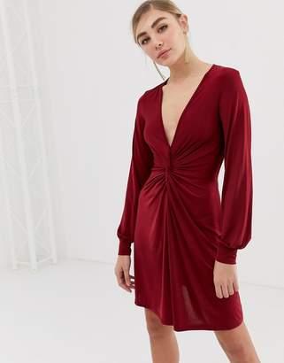 Miss Selfridge twist front dress in burgundy