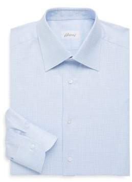 Brioni Regular-Fit Micro Check Cotton Dress Shirt