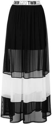 Twin-Set sheer panel maxi skirt