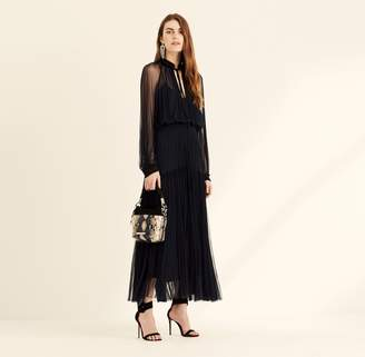Amanda Wakeley Midnight Silk Tulle Long Sleeve Dress