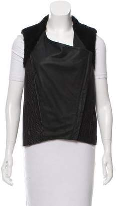 Helmut Lang Faux Fur-Trimmed Leather Vest