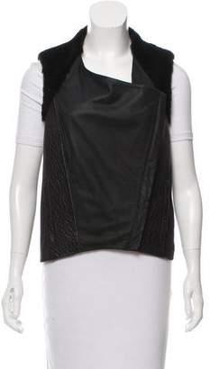 Helmut Lang Faux Fur-Trimmed Leather Vest