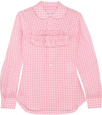 Comme des Garçons GIRL - Ruffle-trimmed Gingham Cotton-poplin Shirt - Pink $395 thestylecure.com