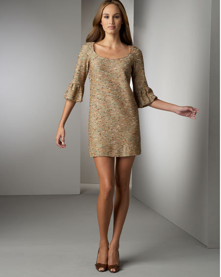 Diane vonFurstenberg Lantern-Sleeve Boucle Dress
