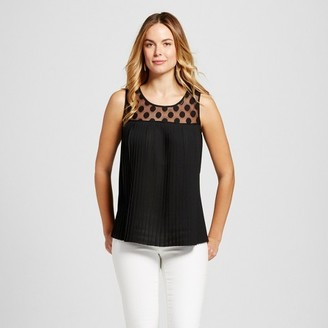 U-knit Women's Pleated Woven Tank with Illusion Polkadot $34.99 thestylecure.com