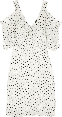 McQ Alexander McQueen - Cold-shoulder Polka-dot Georgette Mini Dress - Off-white $485 thestylecure.com