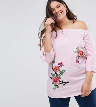 Bardot Lovedrobe Stripe Print Blouse With Floral Motif