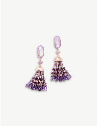 Kendra Scott Dove 14ct gold-plated lilac Mother of Pearl tassel earrings