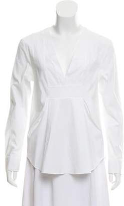 Thakoon Pleat-Accented Long Sleeve Top