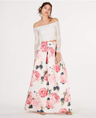 Teeze Me Juniors' 2-Pc. Off-The-Shoulder Lace & Floral Gown