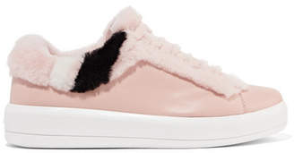 Prada Shearling-trimmed Leather Sneakers - Blush