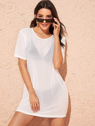 Shein Solid Sheer Cover Up Without Lingerie