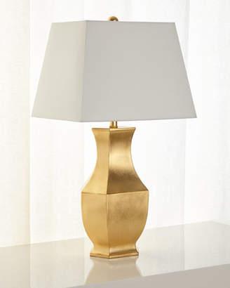 Gold Leaf Mason Lamp with Rectangular Shade