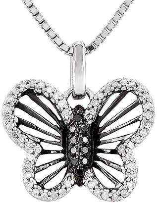 Black Diamond FINE JEWELRY 1/5 CT. T.W. White and Color-Enhanced Sterling Silver Butterfly Pendant Necklace