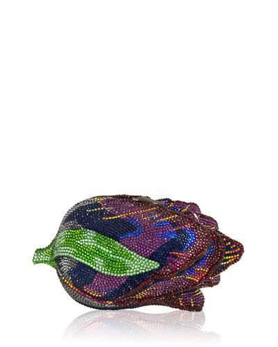 Judith Leiber Couture Tulip Crystal Clutch Bag, Ebonized Amethyst