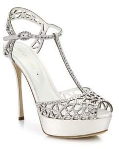 Sergio Rossi Tresor Crystal & Satin T-Strap Platform Sandals