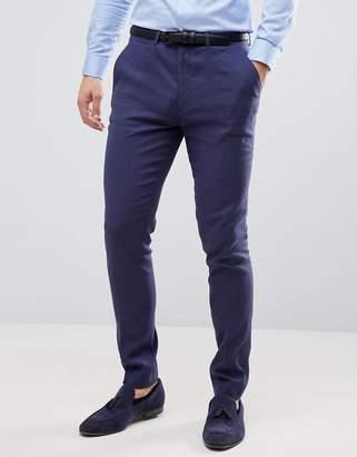 Asos DESIGN wedding super skinny suit pants in indigo linen
