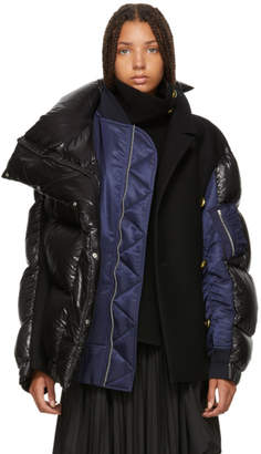Sacai Black and Navy Melton Wool MA-1 Combo Puffer Jacket