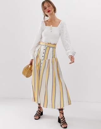 Asos Design DESIGN striped midi skirt with drop waist and self belt