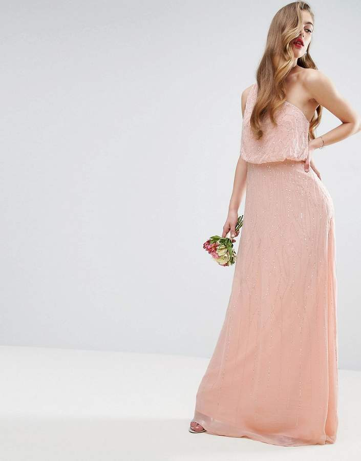 AsosASOS WEDDING One Shoulder Embellished Maxi Dress