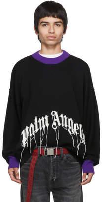 Palm Angels Black Fringed Logo Sweater