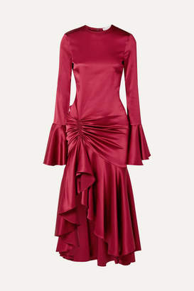 Caroline Constas Monique Ruched Stretch-silk Satin Gown - Burgundy