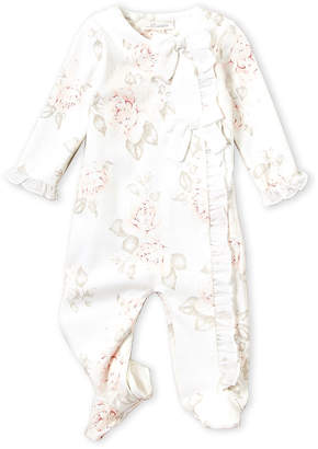 Miniclasix Newborn Girls) White Floral Bow Footie
