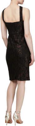 Ignite Foil-Print Cross-Front Cocktail Dress