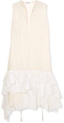 J.W.Anderson Asymmetric Ruffled Crepe De Chine And Broderie Anglaise Cotton Dress - Ivory