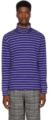MSGM Navy and White Striped Turtleneck