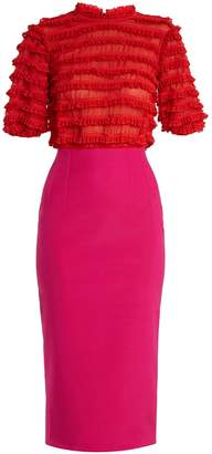 Emilio De La Morena Oralie lace-ruffle embellished silk-blend dress