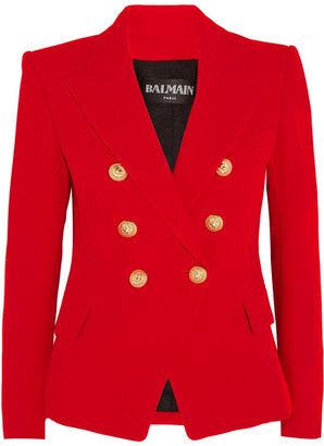 Balmain - Double-breasted Crepe Blazer - Red $2,445 thestylecure.com