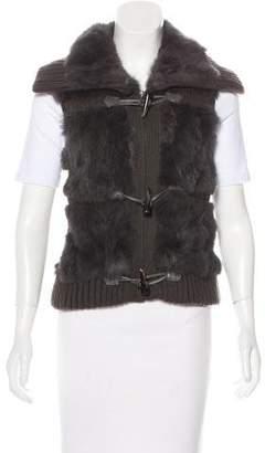 Yves Salomon Fur-Trimmed Knit Vest