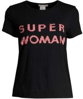 Alice + Olivia Super Woman Sequin Tee