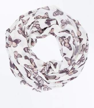 New Look Cream Butterfly Print Snood